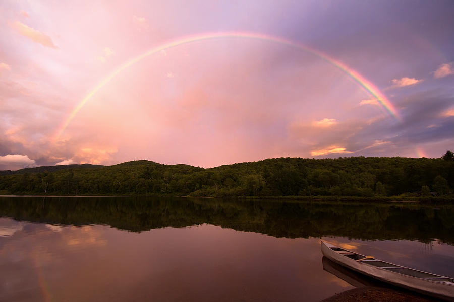 Rainbow Photograph - Timing Is Divine Rainbow Over Vermont Mountains by Stephanie McDowell