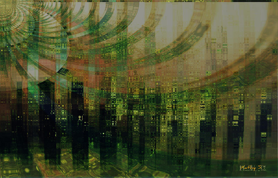 Pattern Digital Art - Tin City by Kathy Sheeran