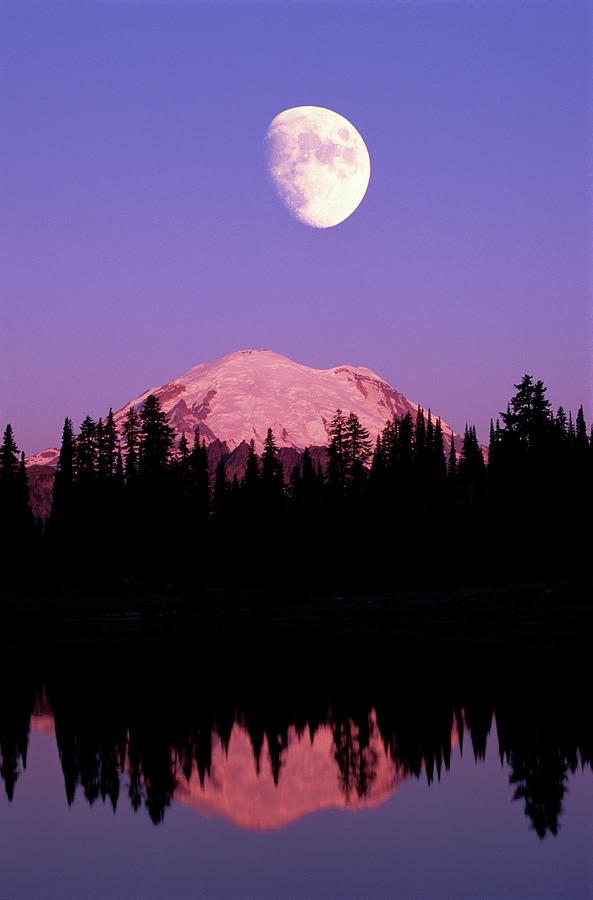 Tipsoo Lake And Full Moon At Mount Ranier National Park In