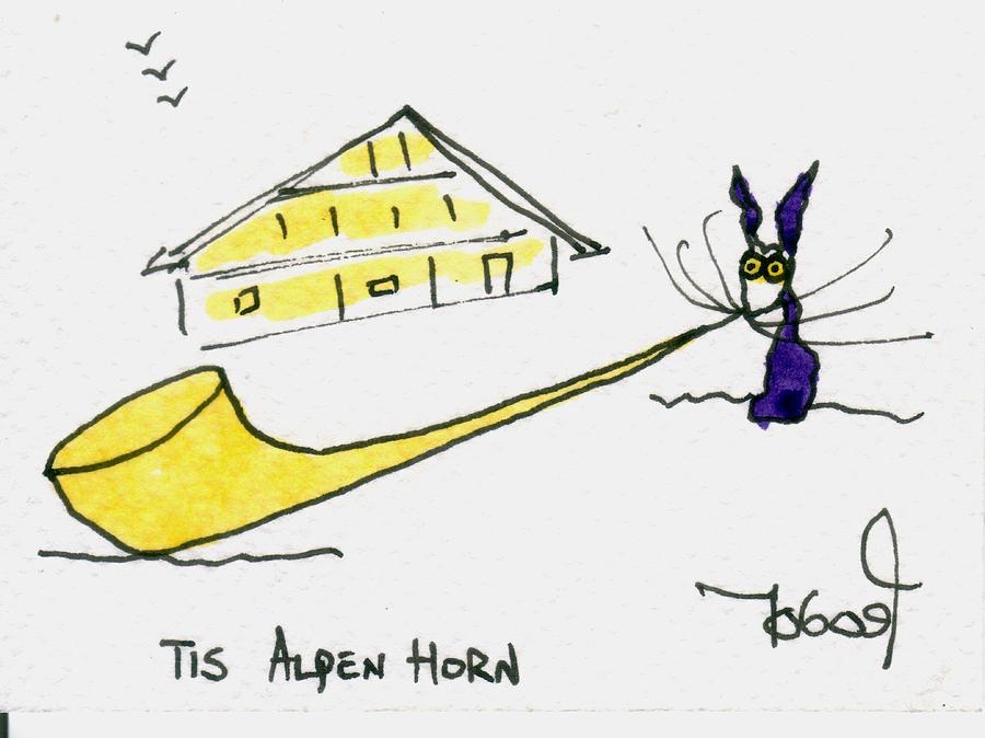 Alpenhorn Painting - Tis Alpenhorn by Tis Art