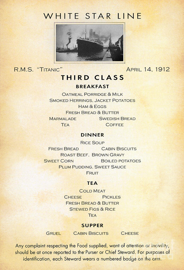 Titanic Menu 1912 Photograph By Granger