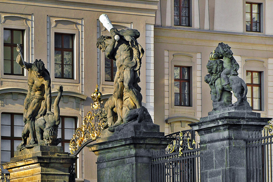 Prague Photograph - Titans Battling Outside Prague Castle by Christine Till