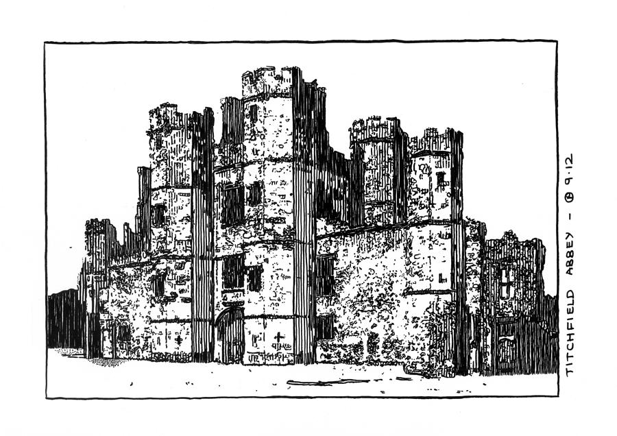 Abbey Drawing - Titchfield Abbey by Peter Smith