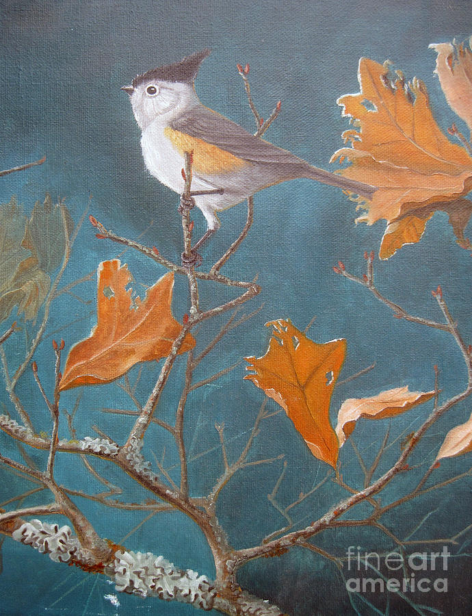 Southwestern Painting - Titmouse by Rick Mittelstedt