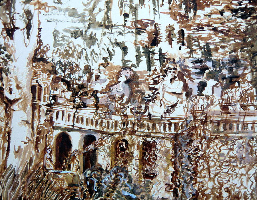 Italy Painting - Tivili Fountains by Mindy Newman