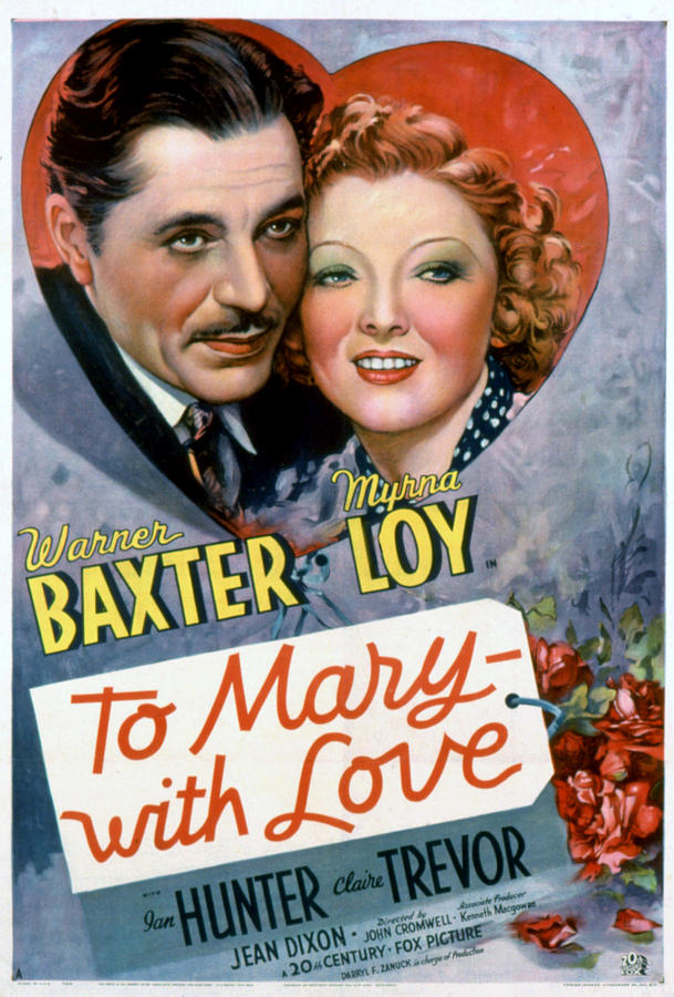 1930s Movies Photograph - To Mary-with Love, Warner Baxter, Myrna by Everett