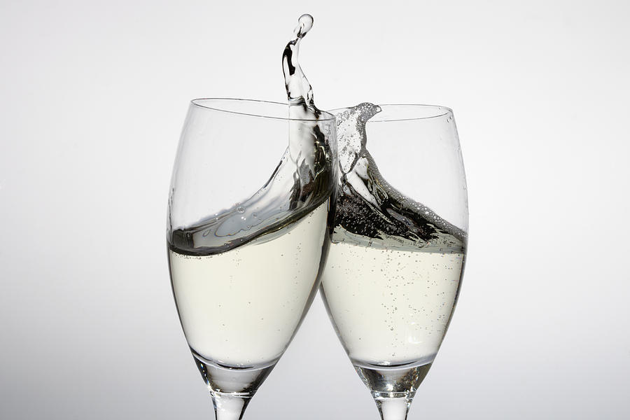 Horizontal Photograph - Toasting With Two Glasses Of Champagne by Dual Dual
