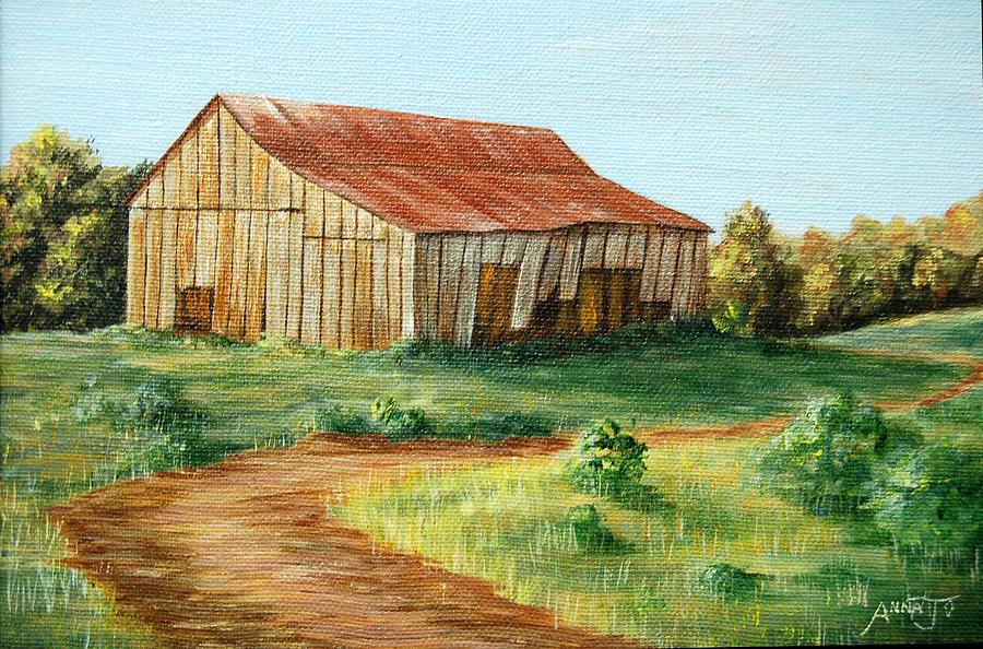 Tobacco Barn Painting - Tobacco Barn by AnnaJo Vahle