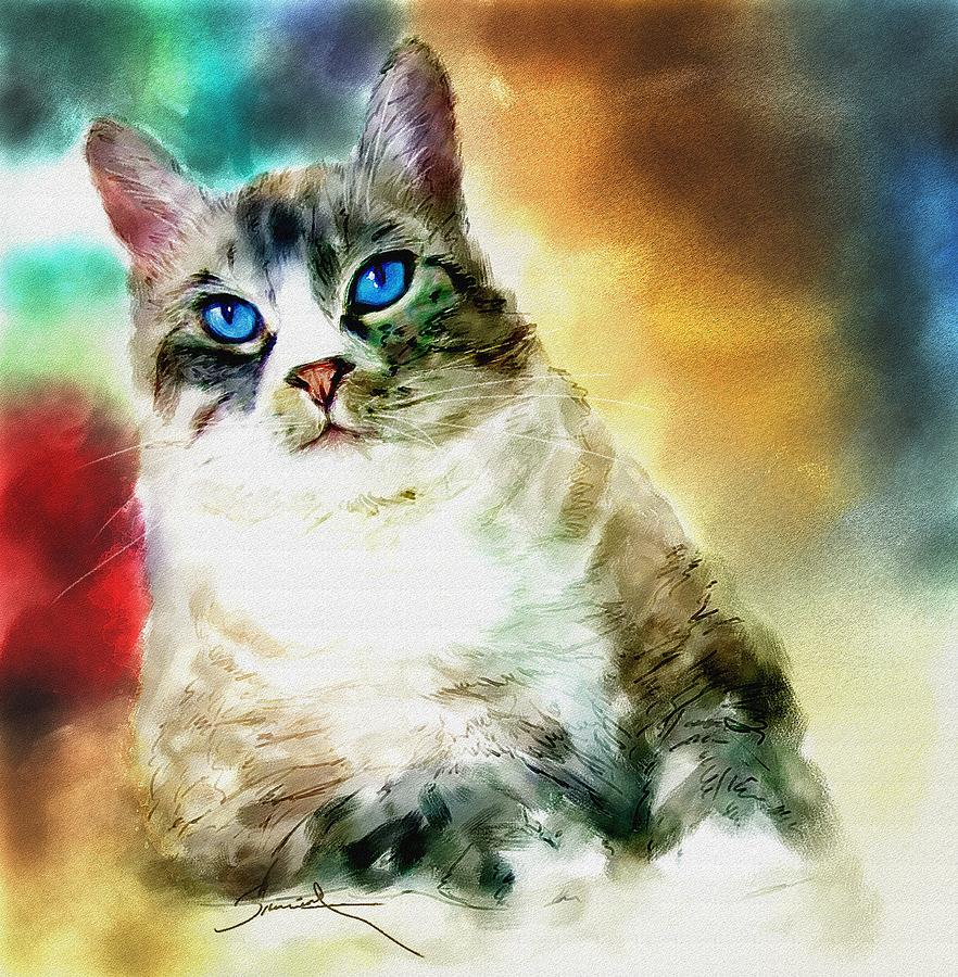 Cat Painting - Toby The Cat by Robert Smith