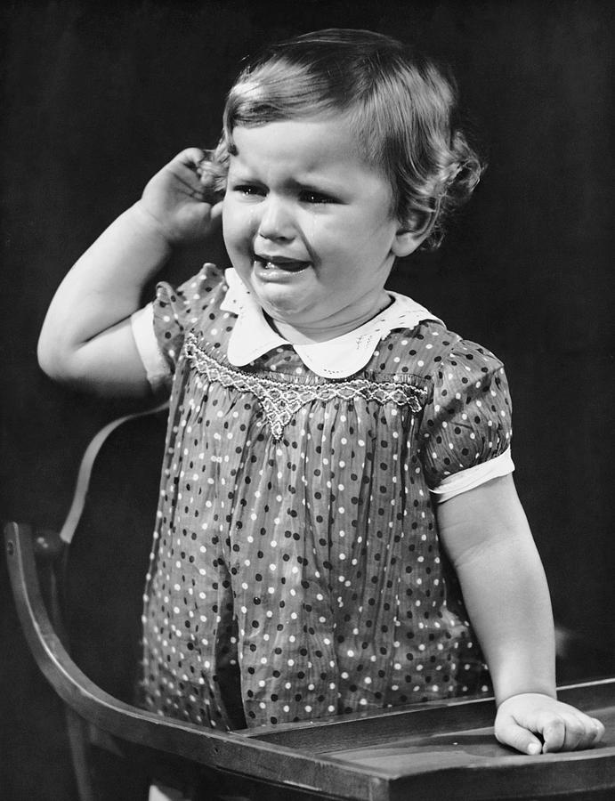 Child Photograph - Toddler Crying In Her Highchair by George Marks