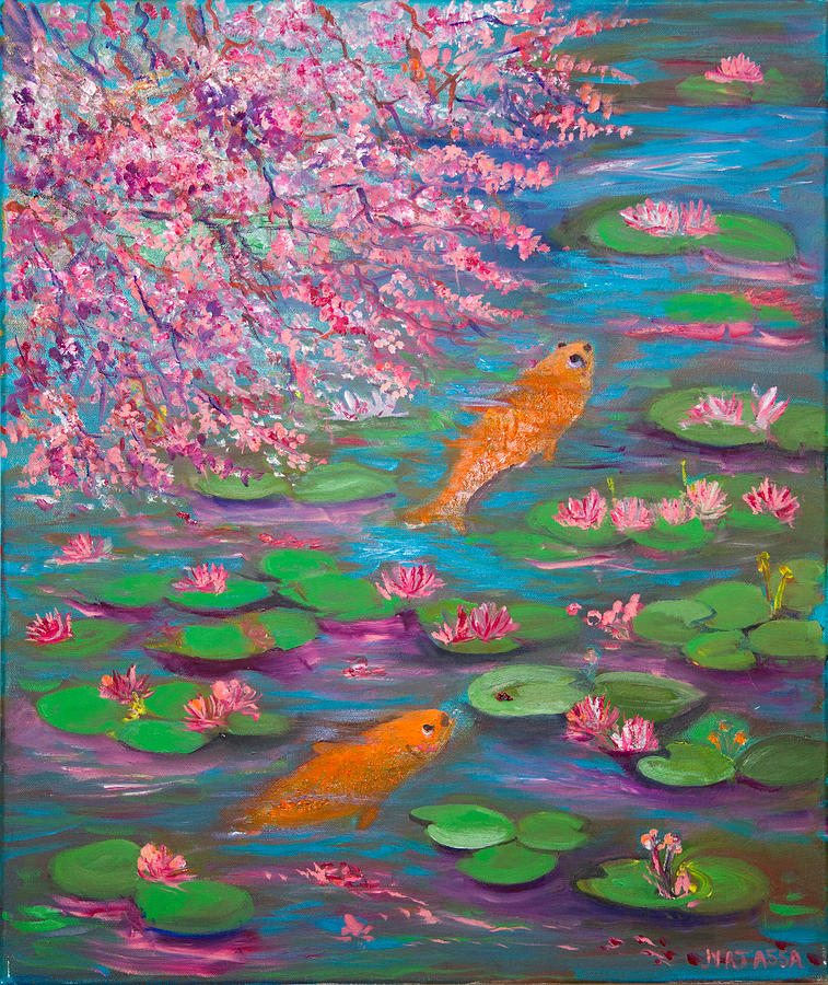 Goldfish Painting - Together Again by Anastasia Saltabida