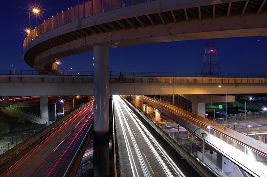 Horizontal Photograph - Tokai Jct At Night by Hama
