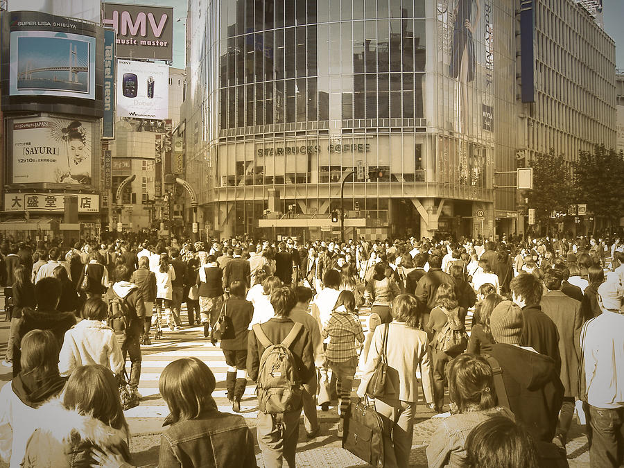 Tokyo Photograph - Tokyo Intersection by Naxart Studio