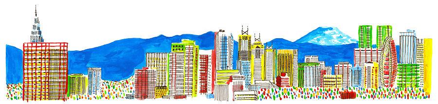 Horizontal Digital Art - Tokyos Skyline by Catarina Bessell