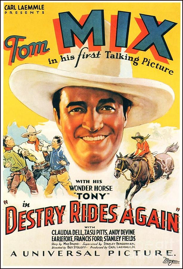 tom mix movie poster painting by roberto prusso