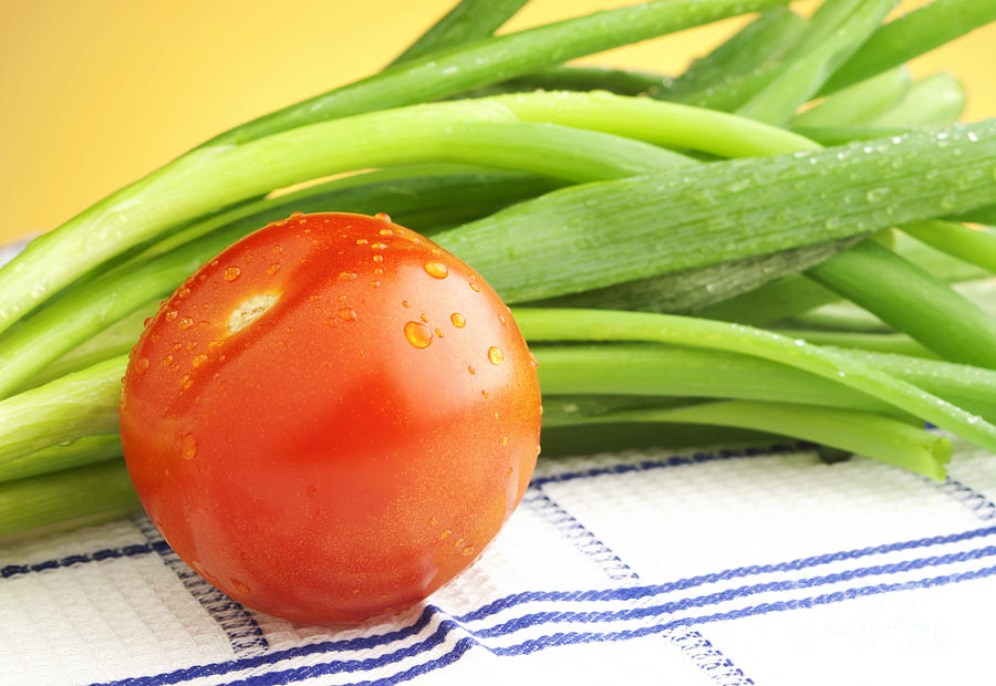 Tomato Photograph - Tomato And Green Onions by Blink Images