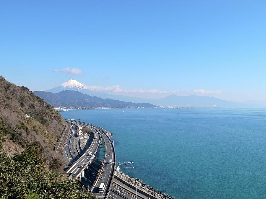 Horizontal Photograph - Tomei Expressway With Mt. Fuji by Bun Buku