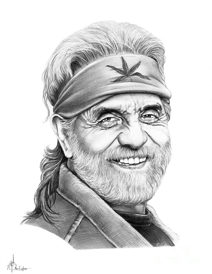 Pencil Drawing - Tommy Chong by Murphy Elliott