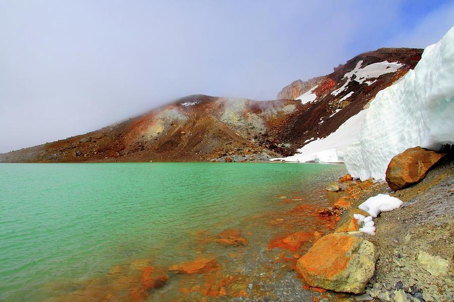 Horizontal Photograph - Tongariro Track Emerald Lakes New Zealand by Timphillipsphotos