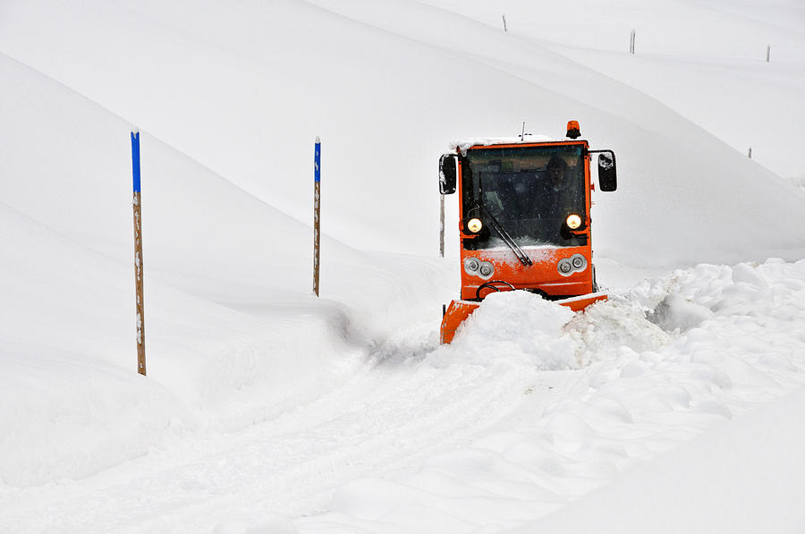 Snowplough Photograph - Tons Of Snow - Winter Road Clearance by Matthias Hauser