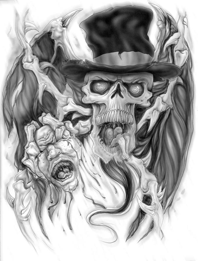Skull Painting - Top Hat by Mike Royal