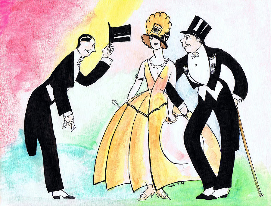 Nostalgia Drawing - Top Hat Trio by Mel Thompson