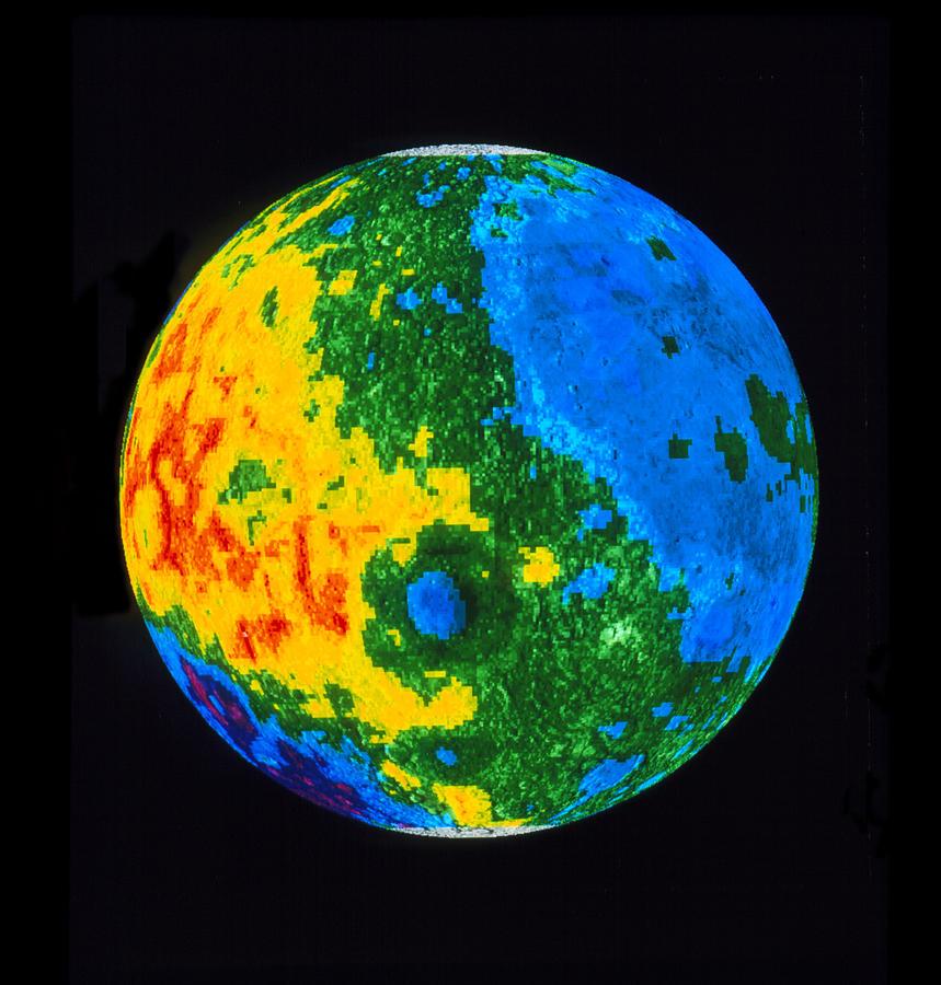 Hemispheres A World Of Fine Furnishings: Topographic Map Of Moon, Western Hemisphere Photograph By Nasa