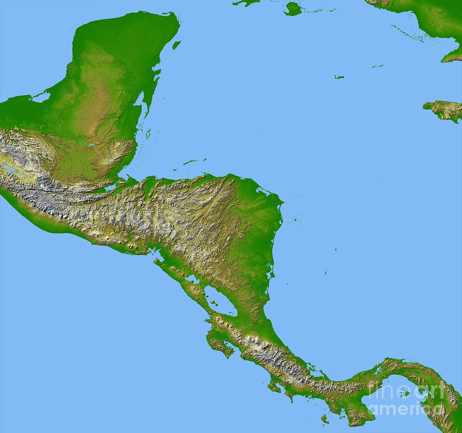 Color Image Photograph - Topographic View Of Central America by Stocktrek Images