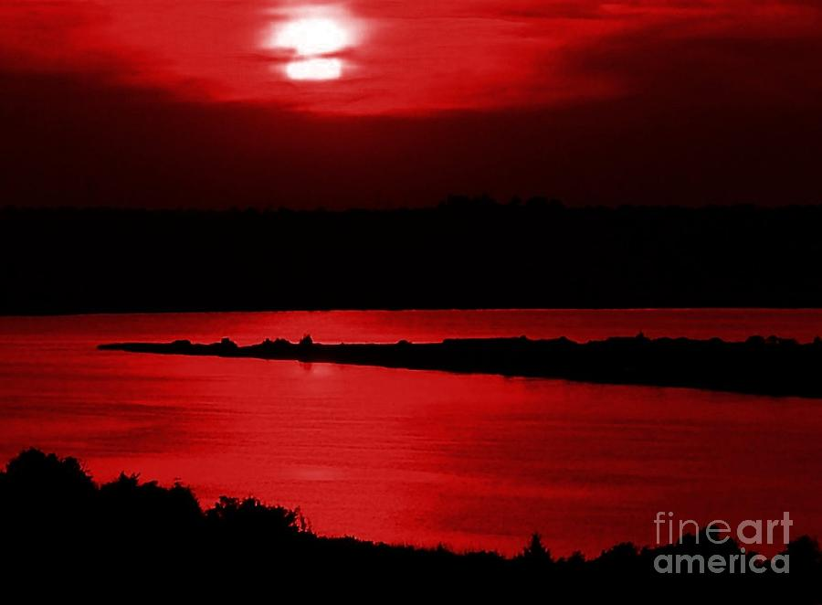 Sunset Photograph - Topsail Island Blood-red Sunset by Julie Dant