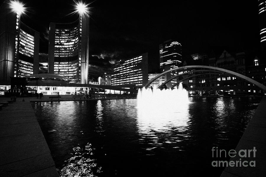 Toronto Photograph - Toronto City Hall Building And Reflecting Pool In Nathan Phillips Square At Night by Joe Fox