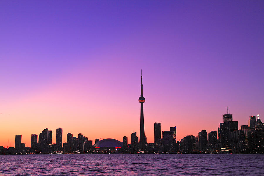 Toronto Photograph - Toronto Purple Skyline by Aqnus Febriyant