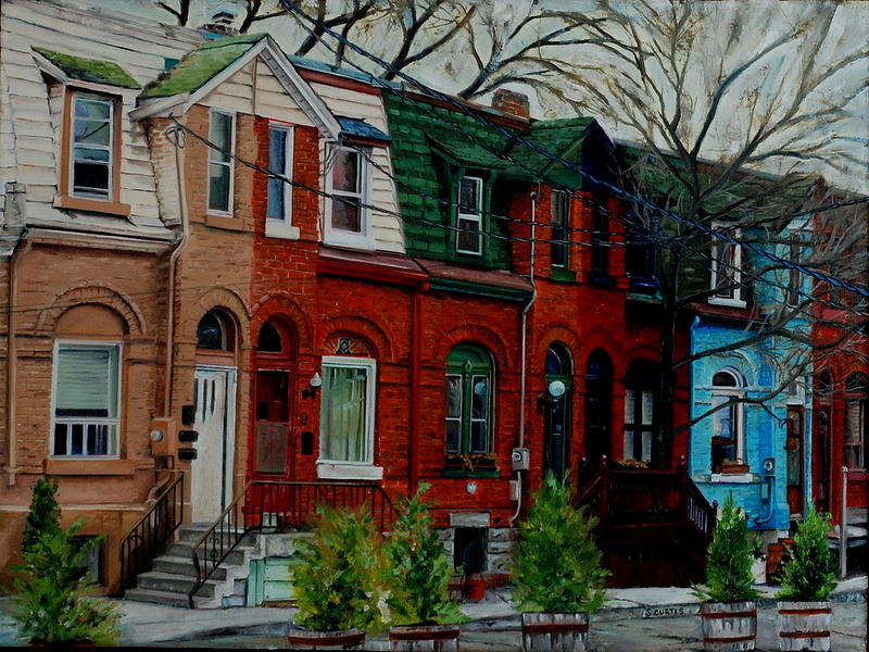 Toronto Row Houses Painting by Stuart Curtis