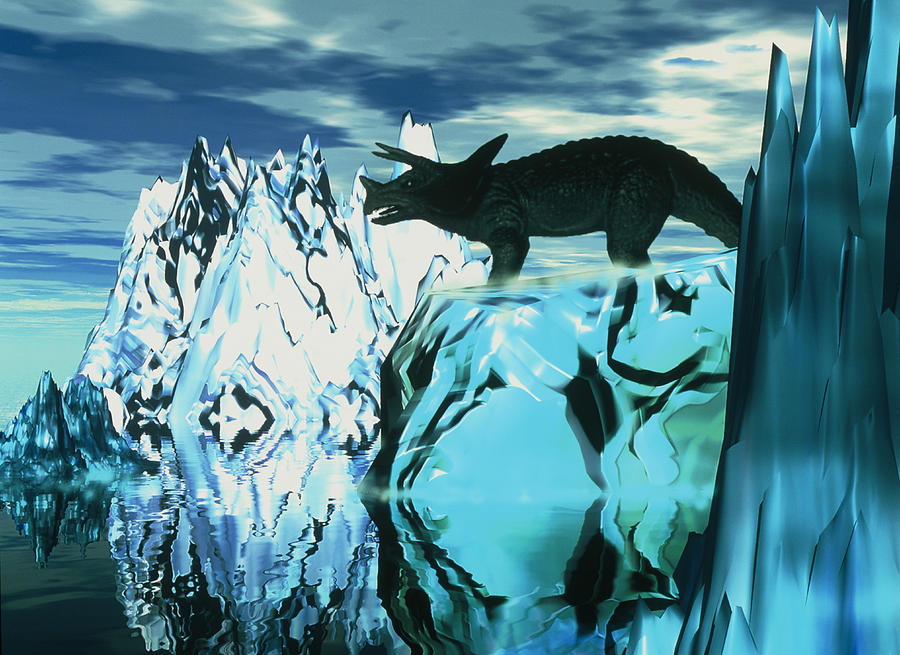 Ice Age Photograph - Torosaurus Dinosaur In An Icy Landscape by Victor Habbick Visions