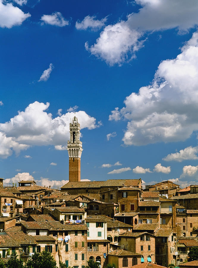 Vertical Photograph - Torre De Mangia And Siena Skyline by Axiom Photographic