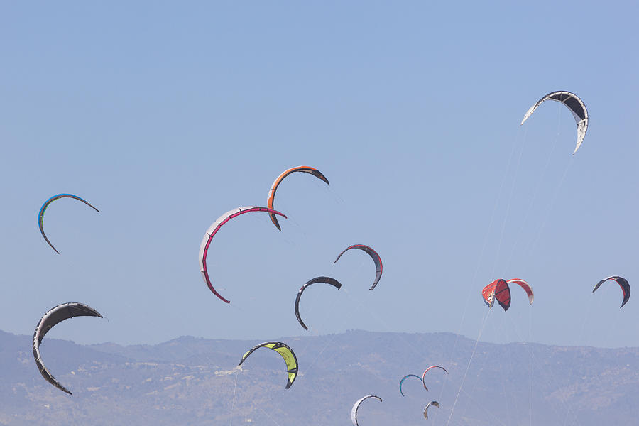 Horizontal Photograph - Torremolinos, Spain  Kite Surfing by Ken Welsh