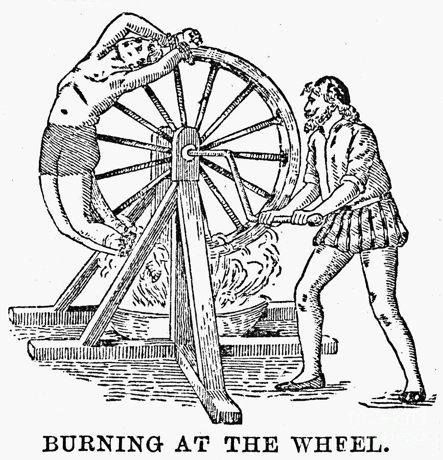 wheel of torture Inquisition instrument of torture wheel of fortune colored engraving.