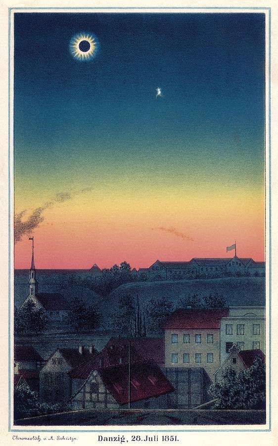 1800s Photograph - Total Solar Eclipse, 1851 Artwork by Detlev Van Ravenswaay