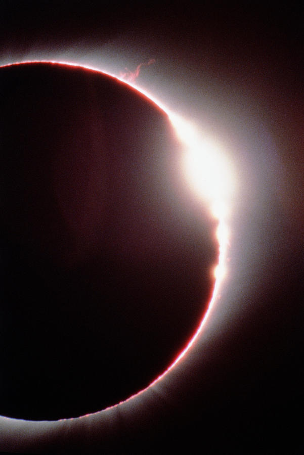Solar Eclipse Photograph - Total Solar Eclipse, Showing A Solar Flare by Dr Fred Espenak