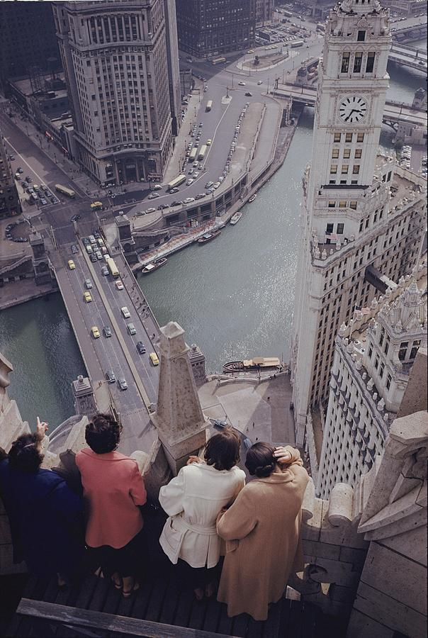 Building Photograph - Tourists Looking Down On The Chicago by B. Anthony Stewart