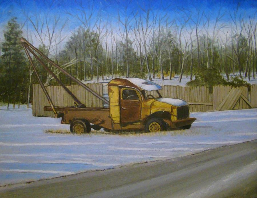 Dump Truck Painting - Tow Truck On Burgoyne Ave. by Mark Haley