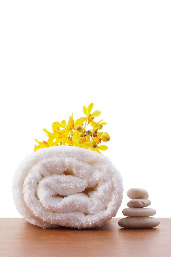 Spa-treatment Photograph - Towel Roll by Atiketta Sangasaeng