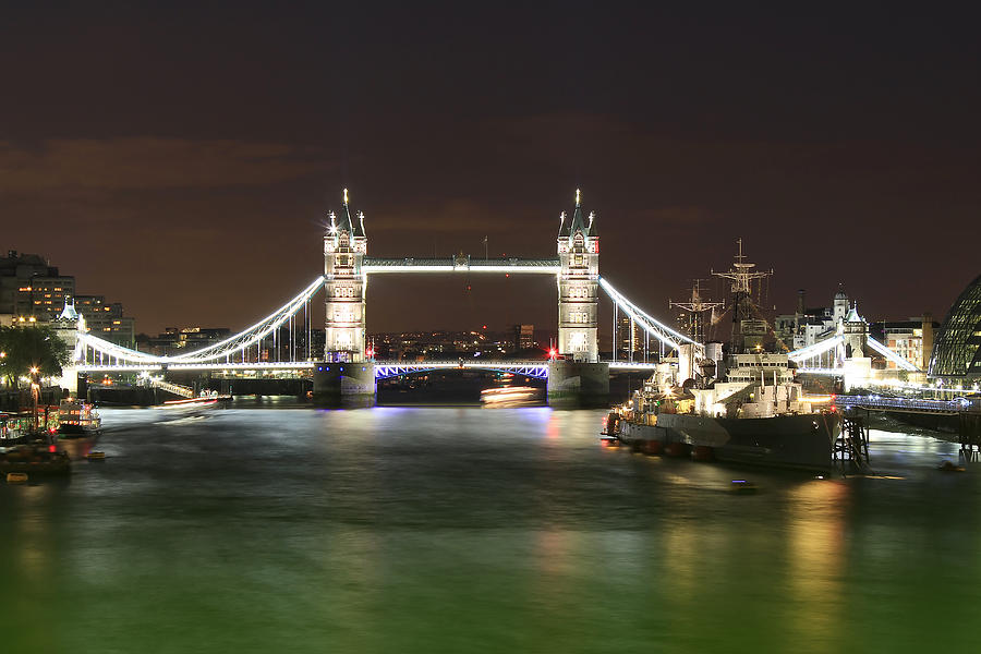 Tower Bridge Photograph - Tower Bridge And Hms Belfast At Night by Jasna Buncic