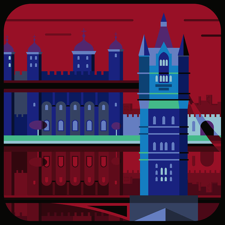 Square Digital Art - Tower Bridge And The Tower Of London, United Kingdom by Nigel Sandor