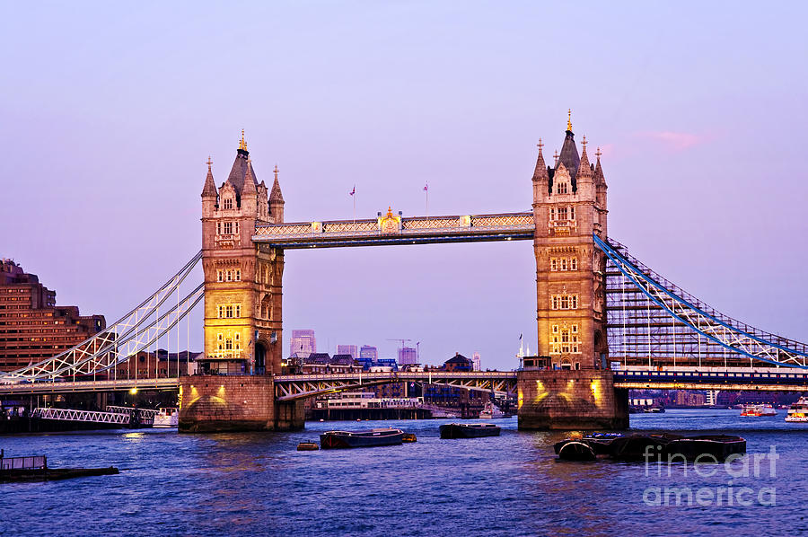 Tower Photograph - Tower Bridge In London At Dusk by Elena Elisseeva