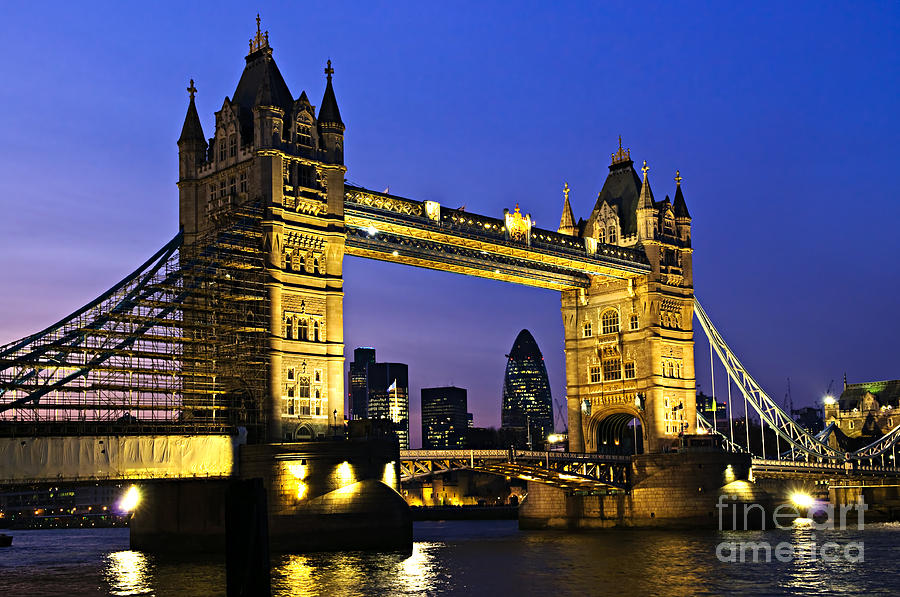 Tower Photograph - Tower Bridge In London At Night by Elena Elisseeva