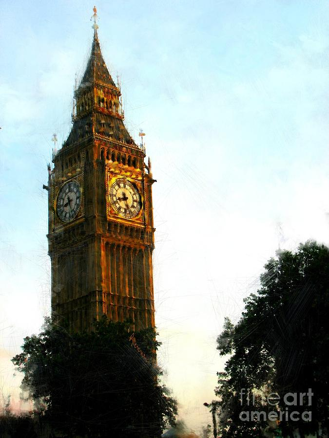 Tower Clock Digital Art - Tower Clock by Susan Holsan