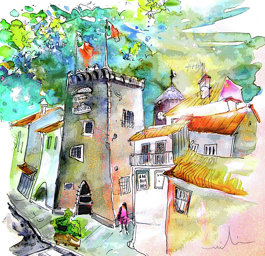 Portugal Painting - Tower in Ponte de Lima in Portugal by Miki De Goodaboom