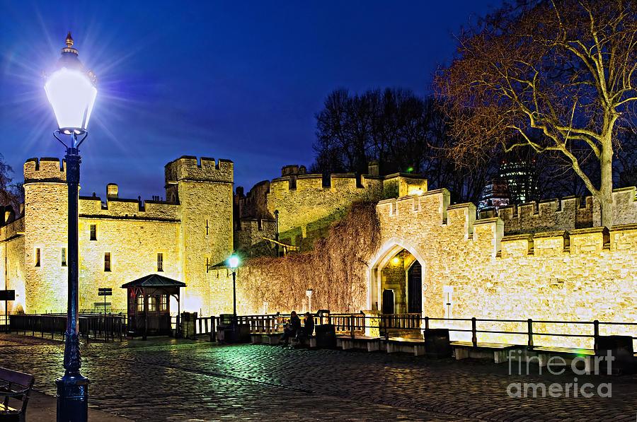 Tower Of London Walls At Night Photograph