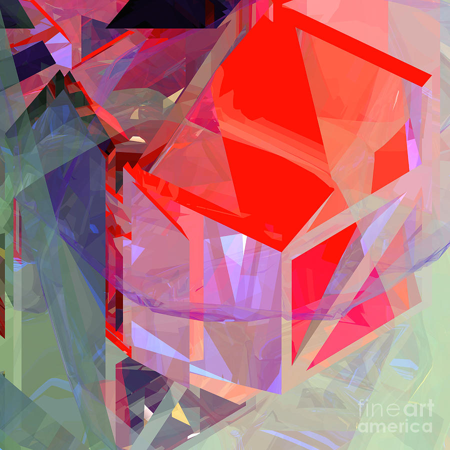 Abstract Digital Art - Tower Poly 21 Tree House by Russell Kightley