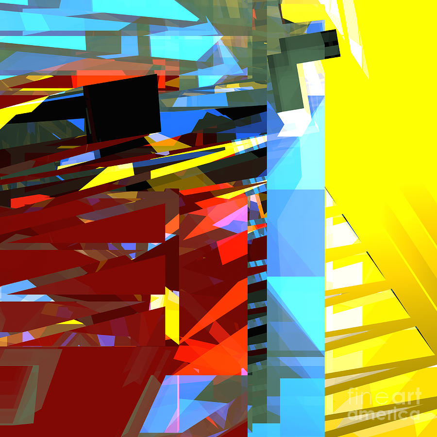 Abstract Digital Art - Tower Series 32 Golden Stairway by Russell Kightley